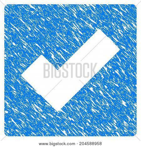 Grunge Check icon with grunge design and dirty texture. Unclean vector blue check pictogram for rubber seal stamp imitations and watermarks. Draft sign symbol.