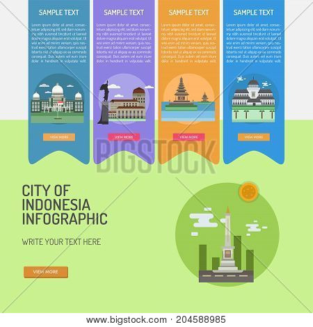 Infographic City of Indonesian | Set of great infographic flat design illustration concepts for indonesian, travel, landmark and much more.