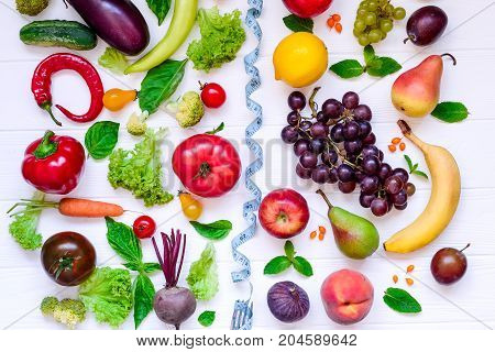 Healthy Food, Diet Eating, Detox Background - Different Fruits And Vegetable And Blue Measuring Tape