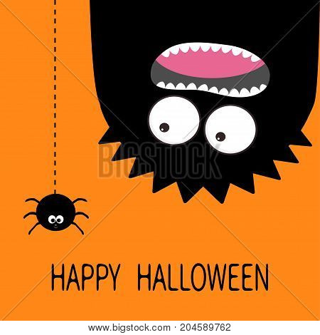 Happy Halloween card. Monster head silhouette. Two eyes teeth tongue. Hanging upside down. Black spider dash line. Funny Cute cartoon baby character. Flat design. Orange background. Vector