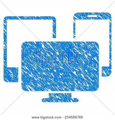 Grunge Electronic Devices icon with grunge design and unclean texture. Unclean vector blue electronic devices pictogram for rubber seal stamp imitations and watermarks. Draft emblem symbol.