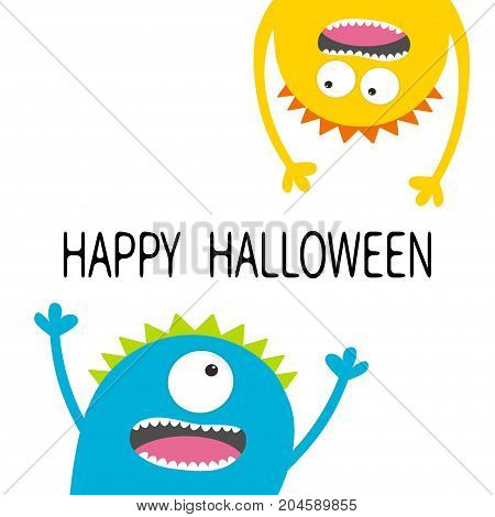 Happy Halloween card. Two screaming monster head silhouette set. Eyes teeth tongue hands. Hanging upside down. Funny Cute cartoon character. Baby collection. Flat design. White background. Vector
