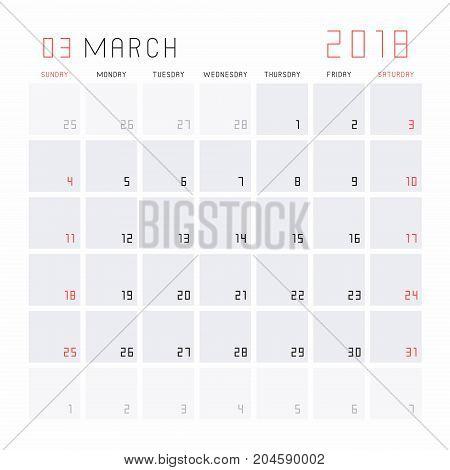Planning calendar March 2018 Monthly scheduler. Week starts on Sunday.