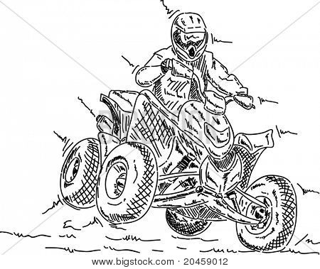 vector - four wheeler jump, isolated on background