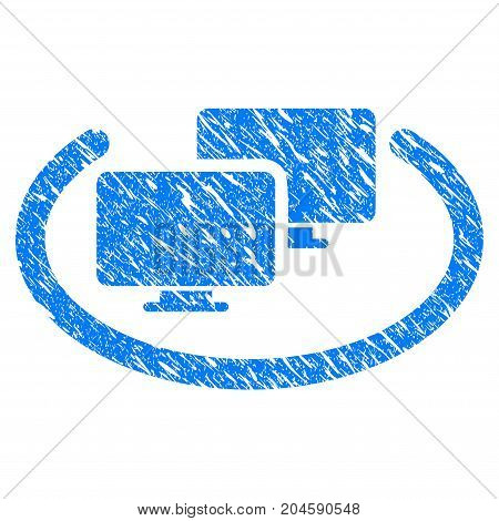 Grunge Intranet Computers icon with grunge design and scratched texture. Unclean vector blue intranet computers pictogram for rubber seal stamp imitations and watermarks. Draft emblem symbol.