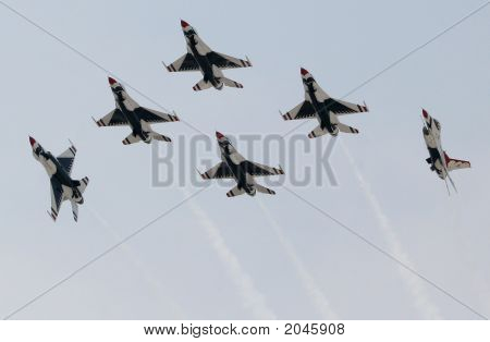 Six Usaf Thunderbirds With Two Solos Turning Out Of Formation