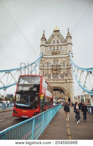 London - August 21, 2017: Tower Bridge In London, Uk.