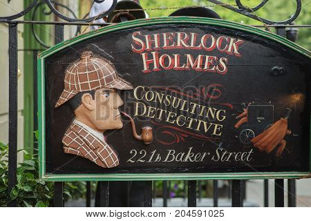 London - August 24, 2017: The Sherlock Holmes Museum.