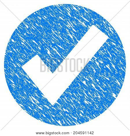 Grunge Ok icon with grunge design and dust texture. Unclean vector blue ok pictogram for rubber seal stamp imitations and watermarks. Draft sticker symbol.