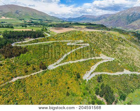 Winding Road On Mountain, Queenstown, New Zealand