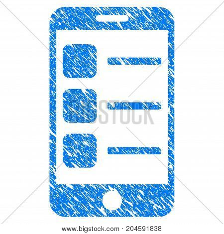 Grunge Smartphone List icon with grunge design and dust texture. Unclean vector blue smartphone list pictogram for rubber seal stamp imitations and watermarks. Draft sticker symbol.