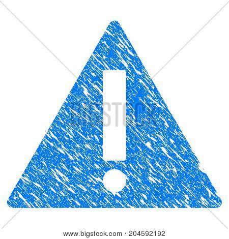 Grunge Warning icon with grunge design and dust texture. Unclean vector blue warning pictogram for rubber seal stamp imitations and watermarks. Draft sticker symbol.