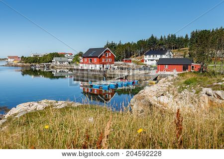 beautiful view on norwegian fjord with houses along coastline. outdoor shot in Norway. copy space.
