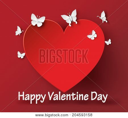 illustration of Valentines day. Abstract paper hearts.