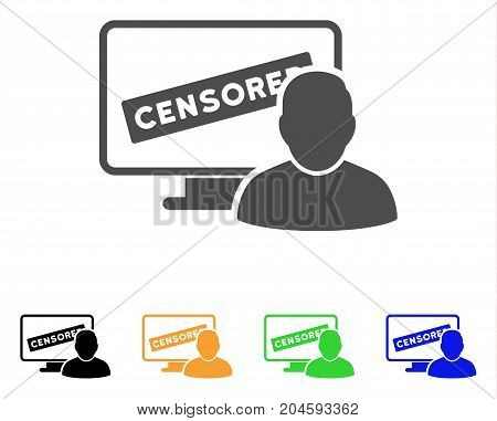 Online Censorship User icon. Vector illustration style is a flat iconic online censorship user symbol with black, gray, green, blue, yellow color variants. Designed for web and software interfaces.