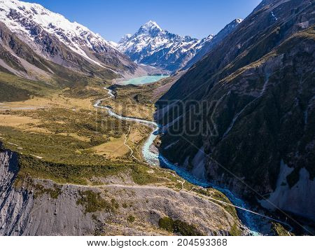 Aerial View Of Mt Cook Landscape, New Zealand