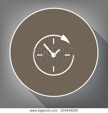 Service and support for customers around the clock and 24 hours. Vector. White icon on brown circle with white contour and long shadow at gray background. Like top view on postament.