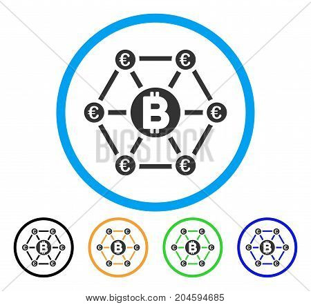 Bitcoin Euro Financial Network icon. Vector illustration style is a flat iconic bitcoin euro financial network gray rounded symbol inside light blue circle with black, green, blue,