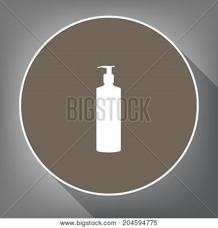 Gel, Foam Or Liquid Soap. Dispenser Pump Plastic Bottle silhouette. Vector. White icon on brown circle with white contour and long shadow at gray background. Like top view on postament.