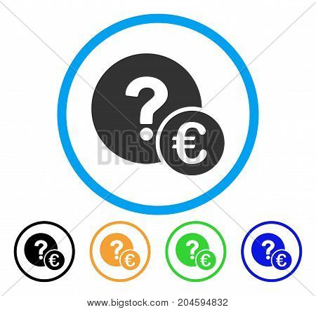 Euro Balance Query icon. Vector illustration style is a flat iconic Euro balance query grey rounded symbol inside light blue circle with black, green, blue, yellow color versions.