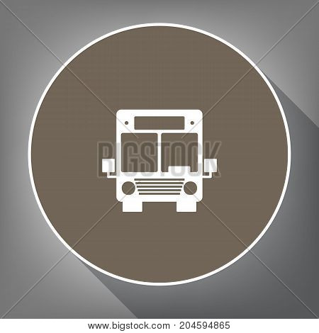 Bus sign illustration. Vector. White icon on brown circle with white contour and long shadow at gray background. Like top view on postament.