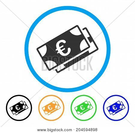 Euro Banknotes icon. Vector illustration style is a flat iconic Euro banknotes gray rounded symbol inside light blue circle with black, green, blue, yellow color variants.