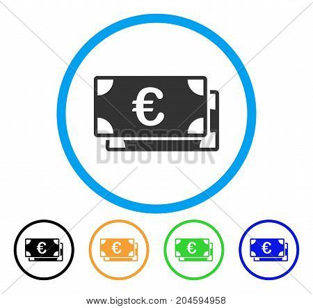 Euro Bills icon. Vector illustration style is a flat iconic Euro bills gray rounded symbol inside light blue circle with black, green, blue, yellow color variants.
