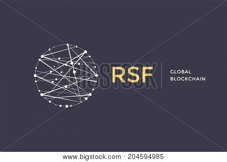 Logo for blockchain technology. Circle with connected lines for brand of smart contract block symbol. Graphic design for decentralized transactions and cryptocurrencies network. Vector Illustration