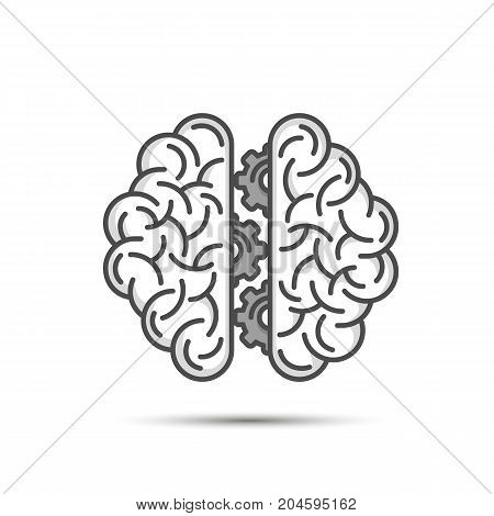 Brain thinking gear on the white background . Vector illustration