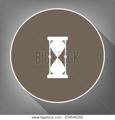 Hourglass sign illustration. Vector. White icon on brown circle with white contour and long shadow at gray background. Like top view on postament.