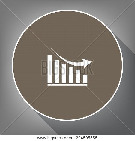 Declining graph sign. Vector. White icon on brown circle with white contour and long shadow at gray background. Like top view on postament.