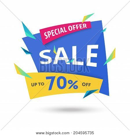 Abstract big sale 70 percent off template - modern vector illustration isolated on white background. Special offer banner, poster, flyer. Discount design geometric layout. Yellow, pink, blue colors