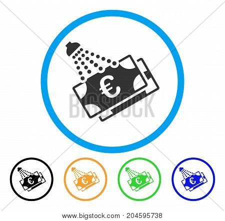 Euro Money Laundry icon. Vector illustration style is a flat iconic Euro money laundry grey rounded symbol inside light blue circle with black, green, blue, yellow color variants.