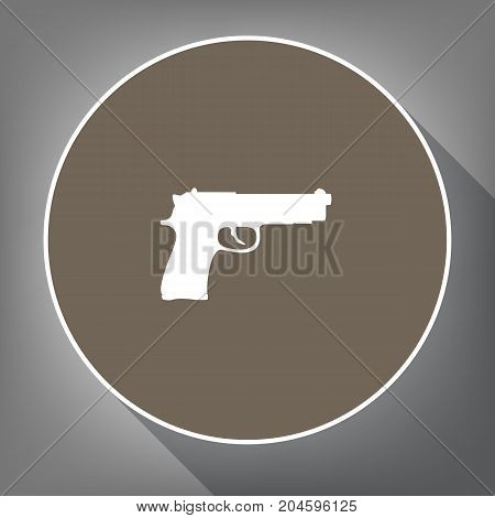 Gun sign illustration. Vector. White icon on brown circle with white contour and long shadow at gray background. Like top view on postament.