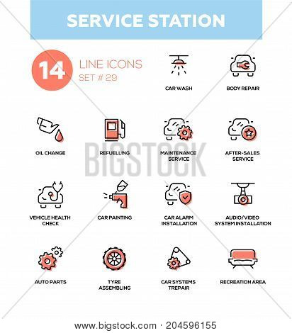 Service station - modern vector single line icons set. Car wash, body repair, oil change, refuel, maintenance, vehicle health check, painting, alarm installation, audio video system installation, auto part, tyre assembling, recreation area