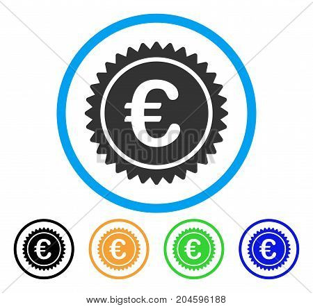 European Quality Stamp icon. Vector illustration style is a flat iconic European quality stamp grey rounded symbol inside light blue circle with black, green, blue, yellow color variants.