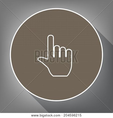 Hand sign illustration. Vector. White icon on brown circle with white contour and long shadow at gray background. Like top view on postament.