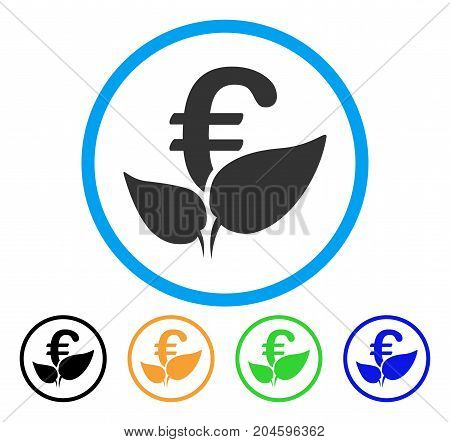 Euro Agriculture Startup icon. Vector illustration style is a flat iconic euro agriculture startup gray rounded symbol inside light blue circle with black, green, blue, yellow color versions.