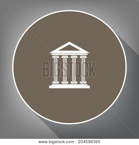 Historical building illustration. Vector. White icon on brown circle with white contour and long shadow at gray background. Like top view on postament.