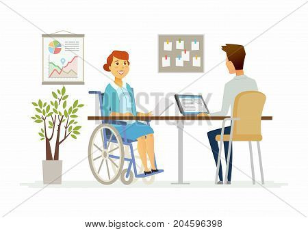 Disabled woman in the office - modern cartoon people characters illustration. A person in a wheelchair talks to a young colleague working at a tablet computer. Job interview, workday, social help