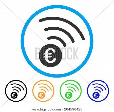 Euro Announce icon. Vector illustration style is a flat iconic euro announce gray rounded symbol inside light blue circle with black, green, blue, yellow color variants.