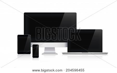 Device Set of Realistic Computer Monitor, Laptop, Tablets and Smartphone with Black Screen in apple design Isolated on white background.Template Presentation.Gadget Mock Up.Vector Illustration. vector