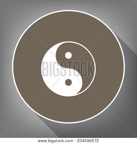 Ying yang symbol of harmony and balance. Vector. White icon on brown circle with white contour and long shadow at gray background. Like top view on postament.