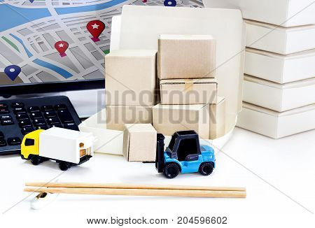 Food Delivery : Freight transportation or packages shipment in boxes and shipping logistics and business food Delivery concept