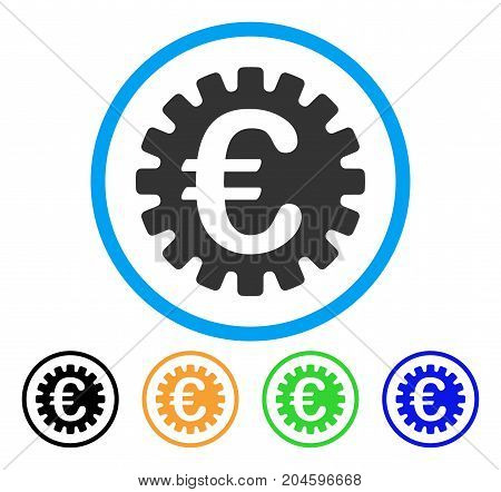 Euro Cog icon. Vector illustration style is a flat iconic euro cog grey rounded symbol inside light blue circle with black, green, blue, yellow color variants.