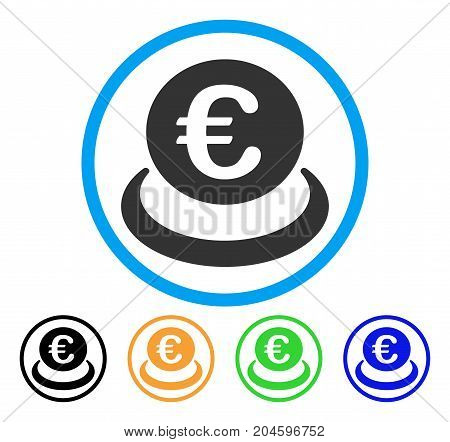 Euro Deposit icon. Vector illustration style is a flat iconic euro deposit grey rounded symbol inside light blue circle with black, green, blue, yellow color variants.