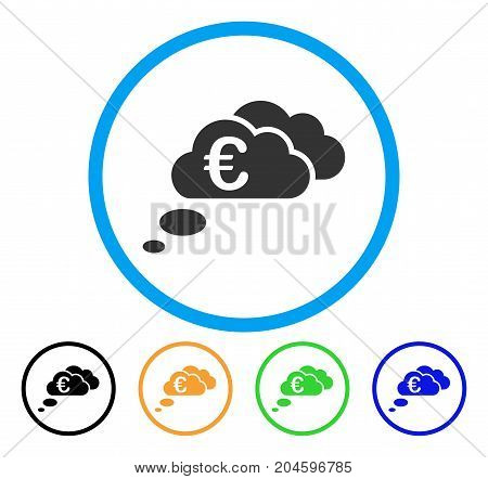 Euro Dream Clouds icon. Vector illustration style is a flat iconic euro dream clouds gray rounded symbol inside light blue circle with black, green, blue, yellow color variants.