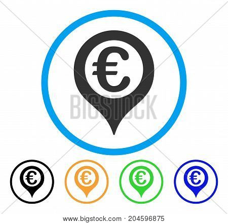 Euro Geotargeting icon. Vector illustration style is a flat iconic euro geotargeting gray rounded symbol inside light blue circle with black, green, blue, yellow color versions.