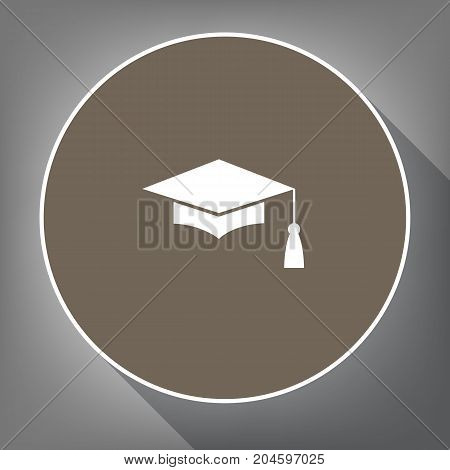 Mortar Board or Graduation Cap, Education symbol. Vector. White icon on brown circle with white contour and long shadow at gray background. Like top view on postament.