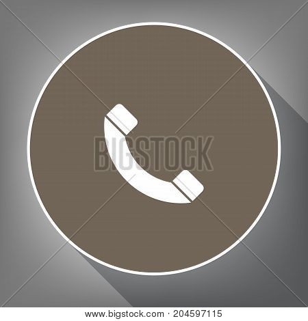 Phone sign illustration. Vector. White icon on brown circle with white contour and long shadow at gray background. Like top view on postament.